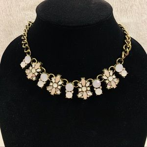 Statement necklace with pastel stones & gold tones